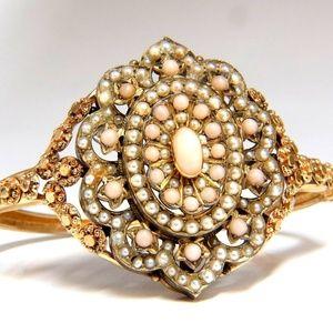 Vintage Seed Pearl Coral Cluster Bangle Bracelet